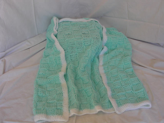 Baby Blanket Turquoise White